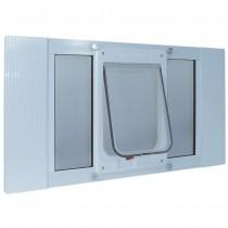 "Ideal Pet Products Aluminum Sash ChubbyKat Flap Pet Door Medium White 1.25"" x 15.06"" x 27"""