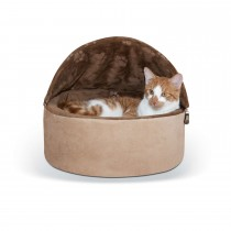 "K&H Pet Products Self-Warming Kitty Bed Hooded Small Chocolate/Tan 16"" x 16"" x 12.5"""