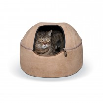 """K&H Pet Products Kitty Dome Bed Unheated Small Tan 16"""" x 16"""" x 12"""""""