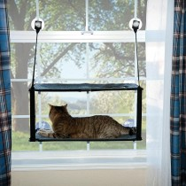 """K&H Pet Products Kitty Sill - Double Stack EZ Window Mount Gray / Black 12"""" x 23"""" x 0.5"""" - KH9092"""